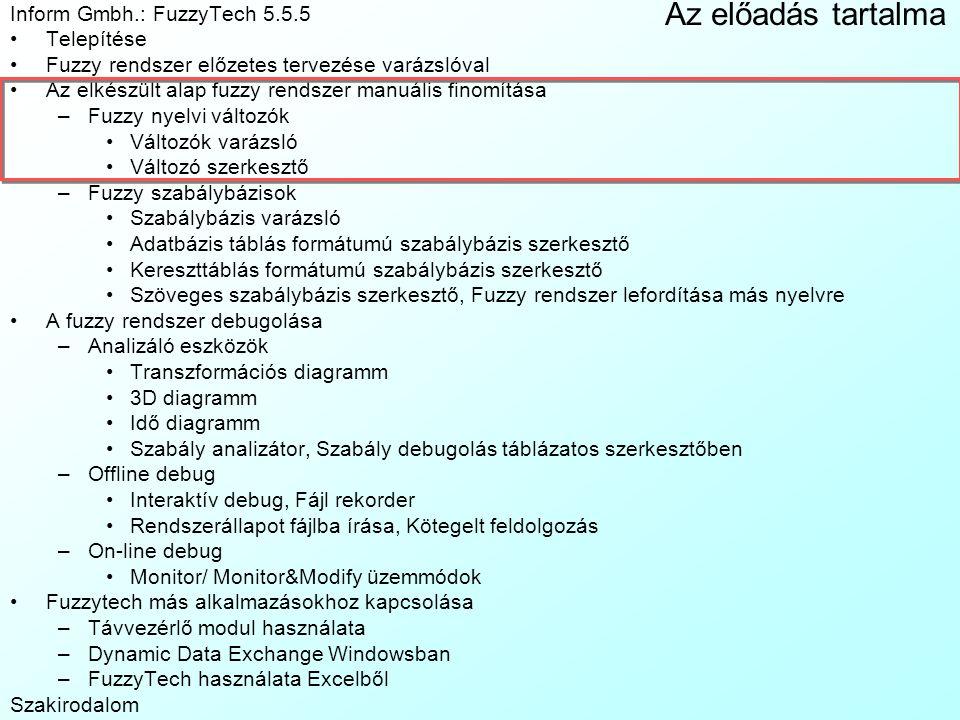 Az előadás tartalma Inform Gmbh.: FuzzyTech 5.5.5 Telepítése