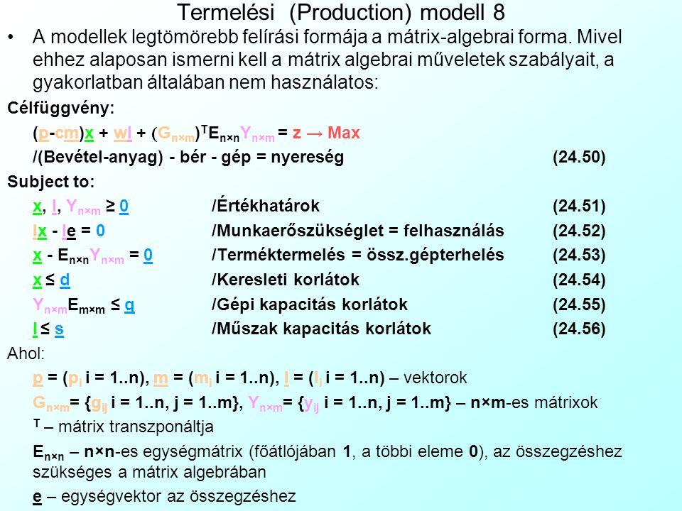 Termelési (Production) modell 8