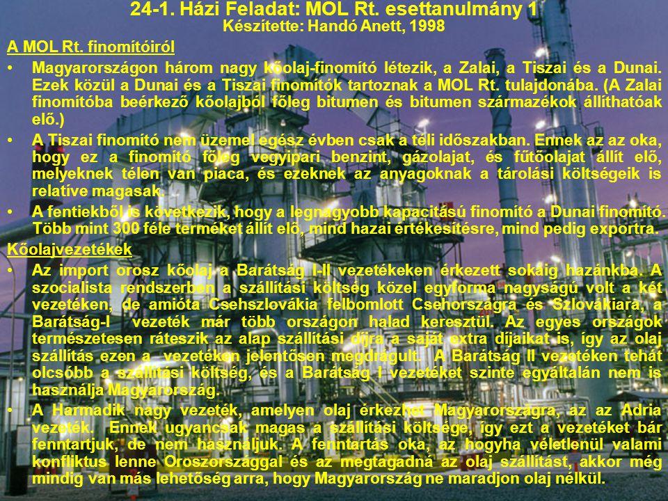 24-1. Házi Feladat: MOL Rt. esettanulmány 1