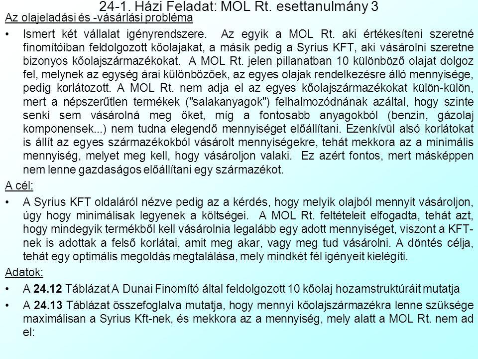 24-1. Házi Feladat: MOL Rt. esettanulmány 3