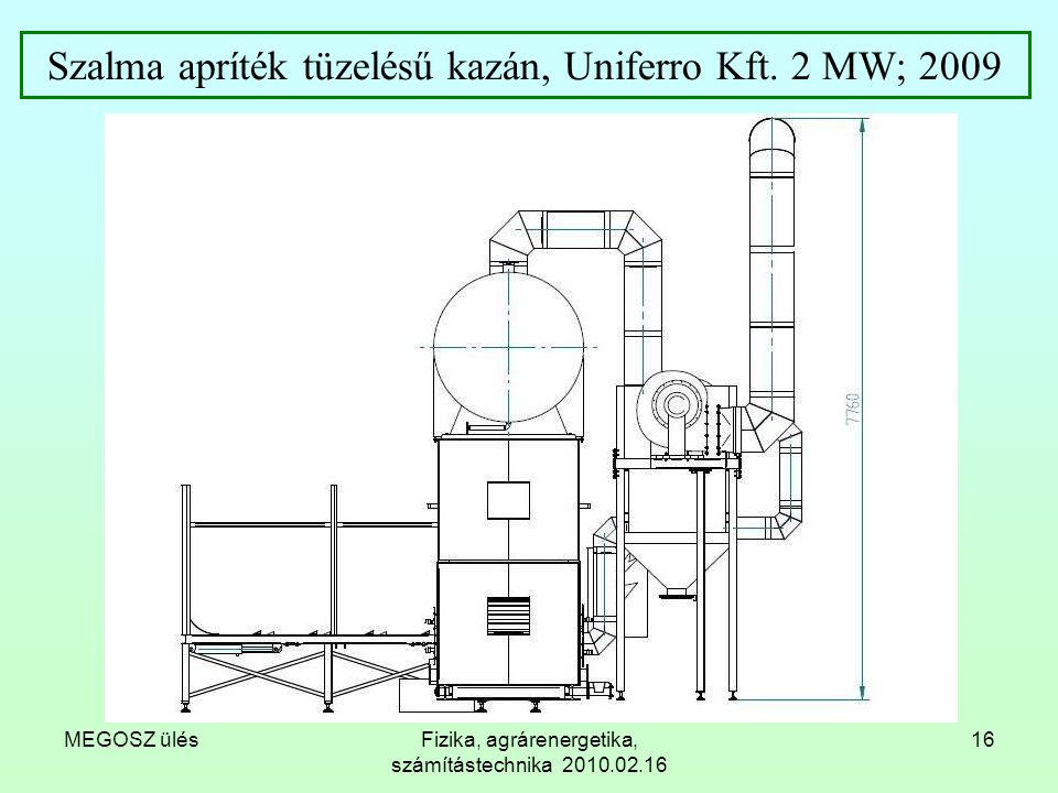 Szalma apríték tüzelésű kazán, Uniferro Kft. 2 MW; 2009