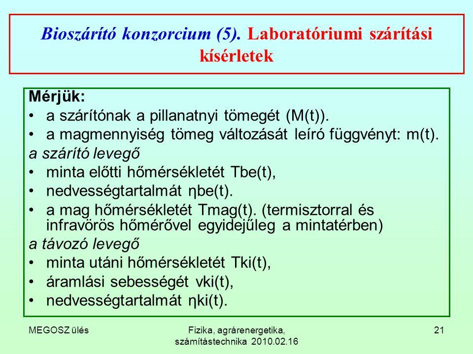 Bioszárító konzorcium (5). Laboratóriumi szárítási kísérletek