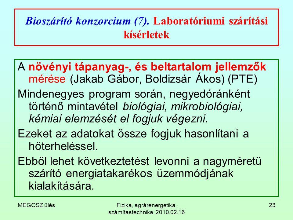Bioszárító konzorcium (7). Laboratóriumi szárítási kísérletek