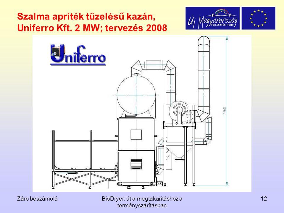 Szalma apríték tüzelésű kazán, Uniferro Kft. 2 MW; tervezés 2008