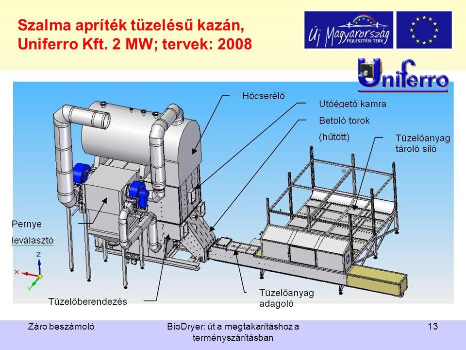 Szalma apríték tüzelésű kazán, Uniferro Kft. 2 MW; tervek: 2008