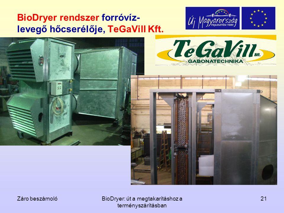 BioDryer rendszer forróvíz-levegő hőcserélője, TeGaVill Kft.