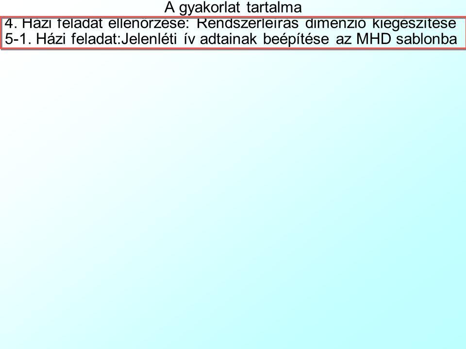 A gyakorlat tartalma 4. Házi feladat ellenőrzése: Rendszerleírás dimenzió kiegészítése.
