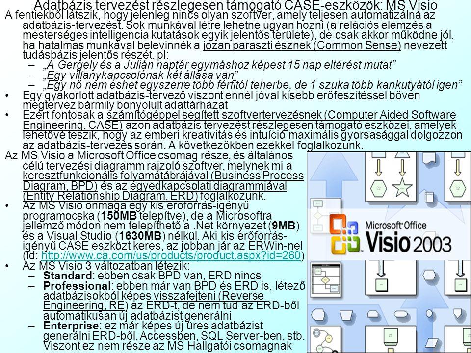 Adatbázis tervezést részlegesen támogató CASE-eszközök: MS Visio