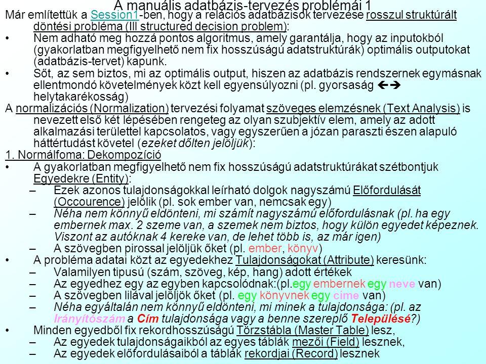 A manuális adatbázis-tervezés problémái 1