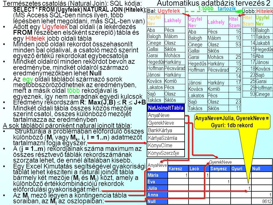 Automatikus adatbázis tervezés 2