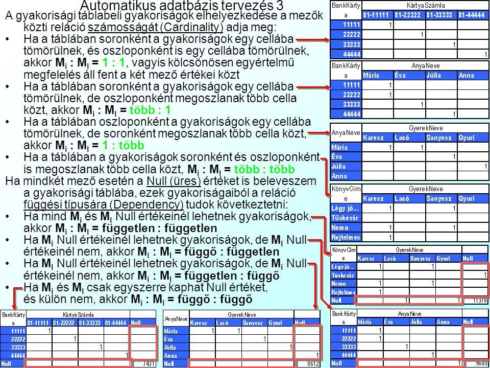 Automatikus adatbázis tervezés 3