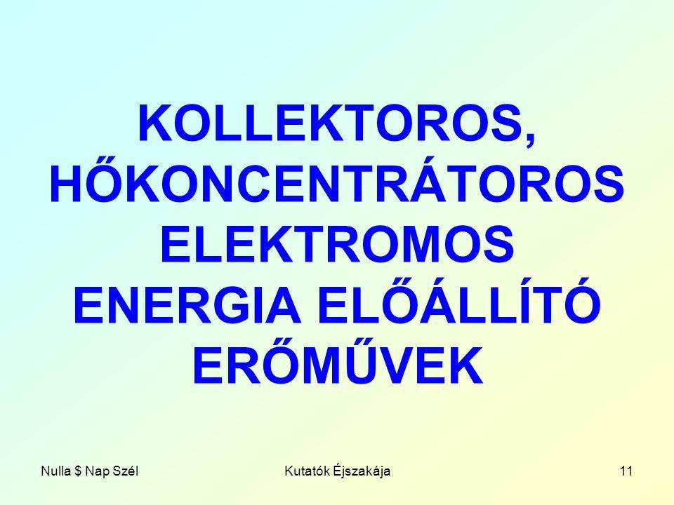 KOLLEKTOROS, HŐKONCENTRÁTOROS ELEKTROMOS ENERGIA ELŐÁLLÍTÓ ERŐMŰVEK