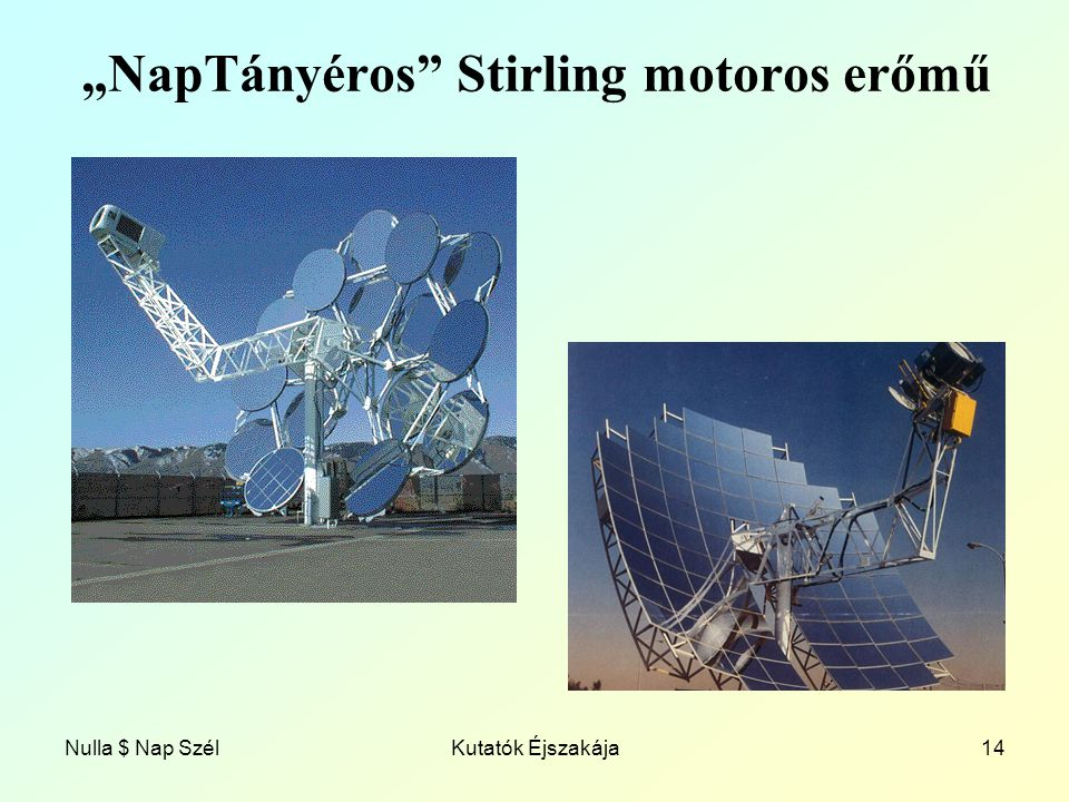 """""""NapTányéros Stirling motoros erőmű"""