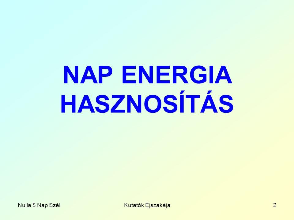 NAP ENERGIA HASZNOSÍTÁS