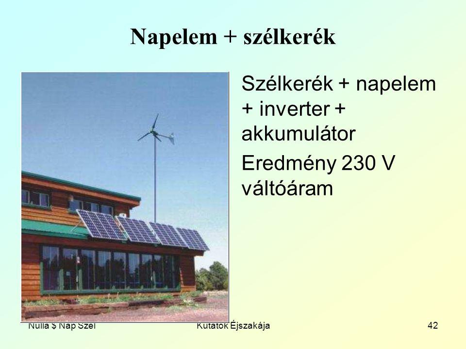 Napelem + szélkerék Szélkerék + napelem + inverter + akkumulátor