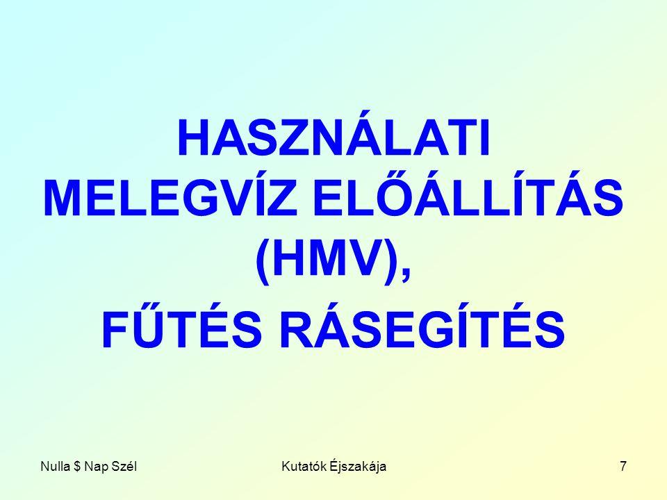 HASZNÁLATI MELEGVÍZ ELŐÁLLÍTÁS (HMV),
