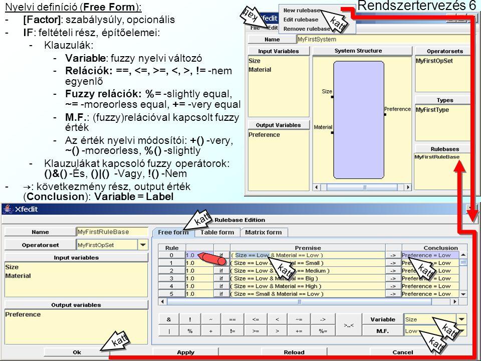Rendszertervezés 6 Nyelvi definíció (Free Form):