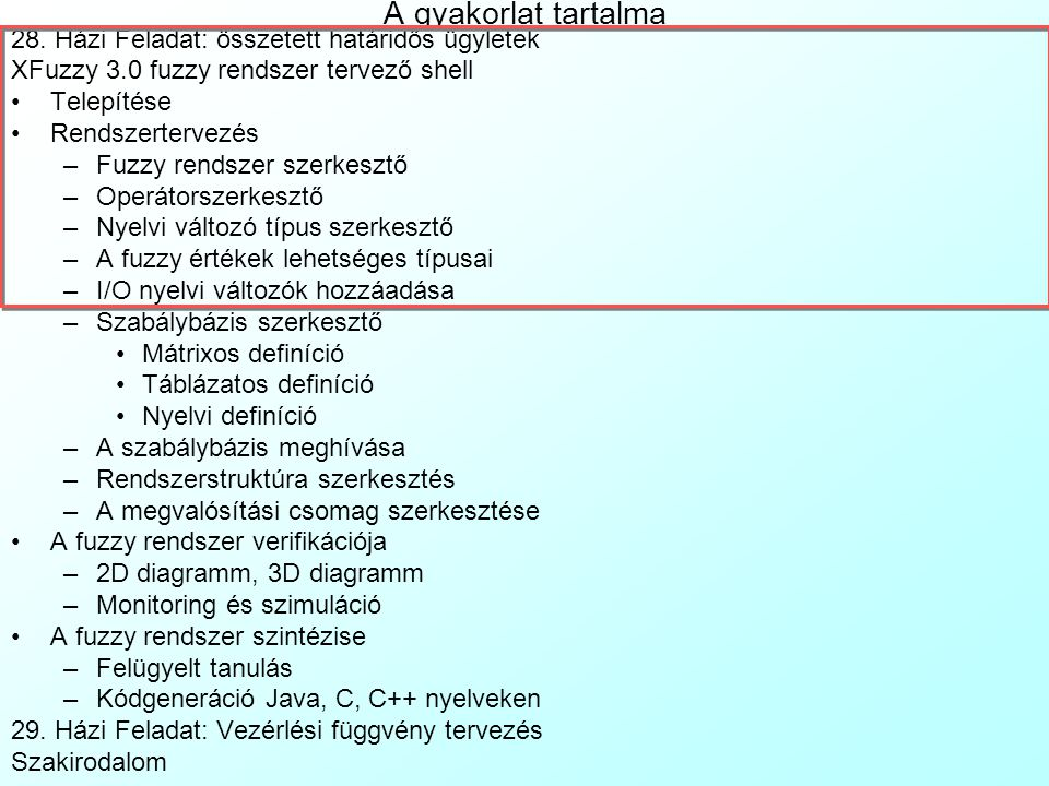A gyakorlat tartalma 28. Házi Feladat: összetett határidős ügyletek