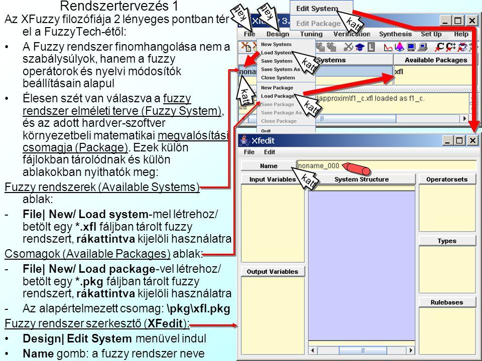 Rendszertervezés 1 Az XFuzzy filozófiája 2 lényeges pontban tér el a FuzzyTech-étől: