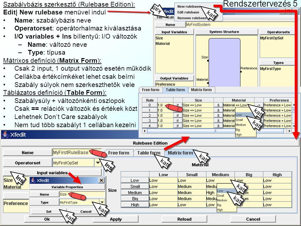 Rendszertervezés 5 Szabálybázis szerkesztő (Rulebase Edition):