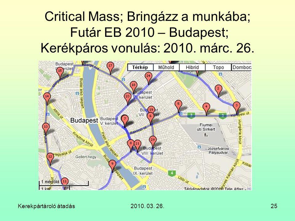 Critical Mass; Bringázz a munkába; Futár EB 2010 – Budapest; Kerékpáros vonulás: 2010. márc. 26.