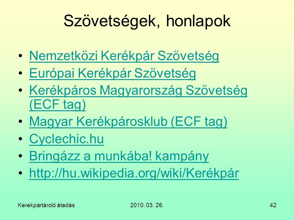 Szövetségek, honlapok Nemzetközi Kerékpár Szövetség