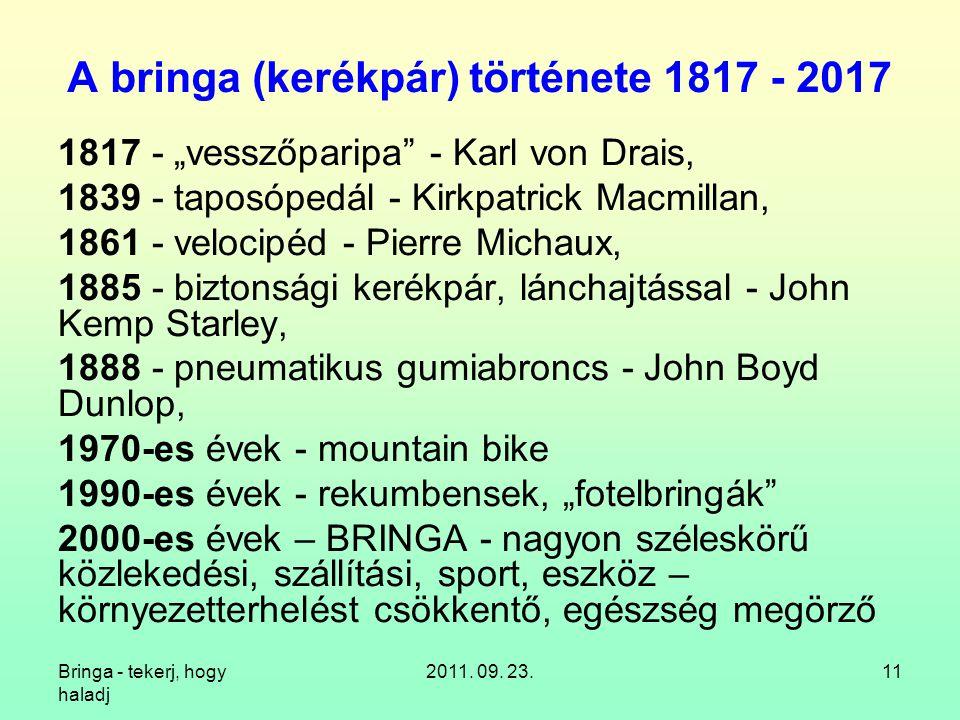 A bringa (kerékpár) története 1817 - 2017