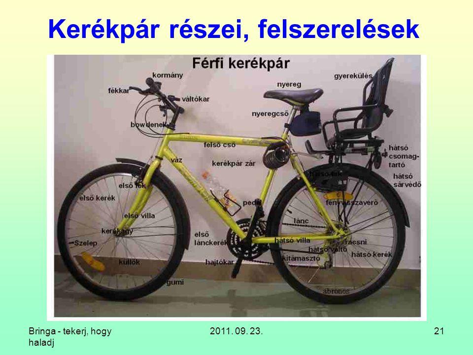 Kerékpár részei, felszerelések