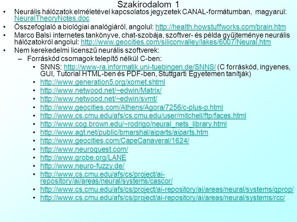 Szakirodalom 1 Neurális hálózatok elméletével kapcsolatos jegyzetek CANAL-formátumban, magyarul: NeuralTheoryNotes.doc.