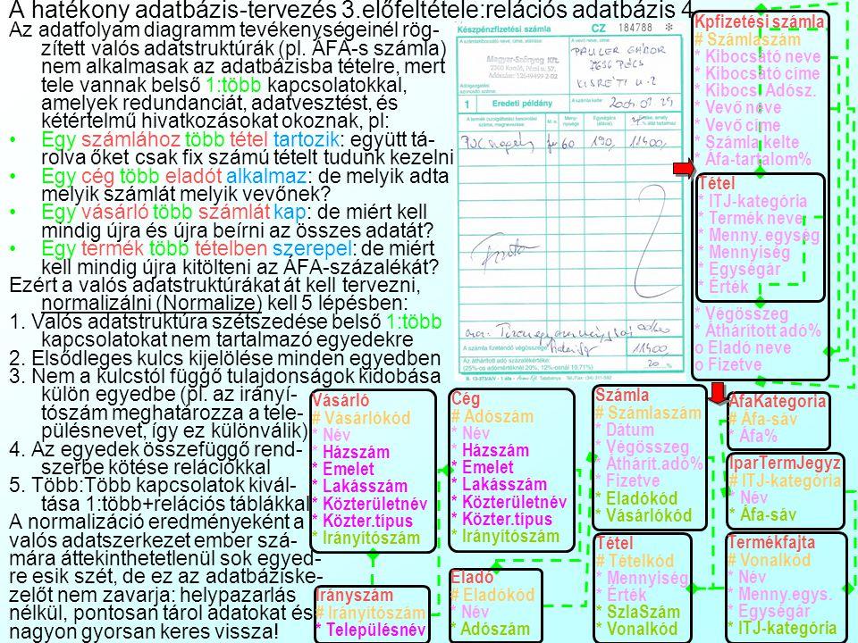 A hatékony adatbázis-tervezés 3.előfeltétele:relációs adatbázis 4