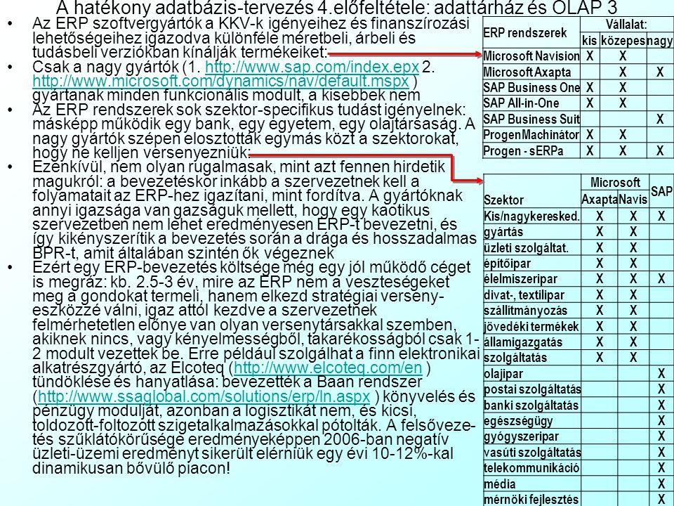 A hatékony adatbázis-tervezés 4.előfeltétele: adattárház és OLAP 3