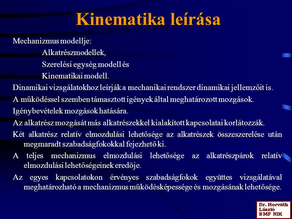 Kinematika leírása Mechanizmus modellje: Alkatrészmodellek,