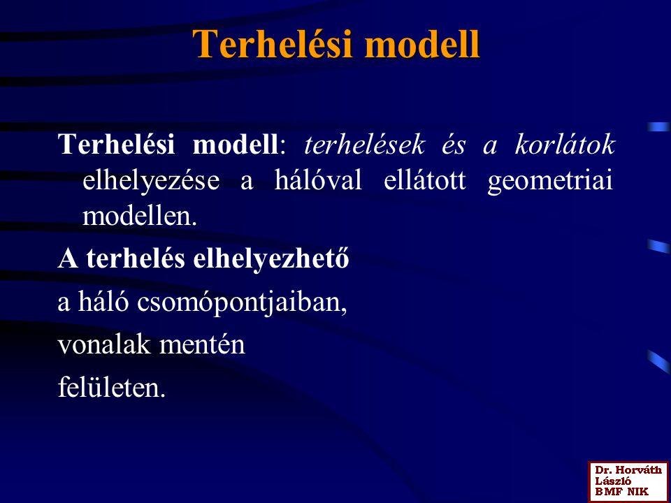 Terhelési modell Terhelési modell: terhelések és a korlátok elhelyezése a hálóval ellátott geometriai modellen.