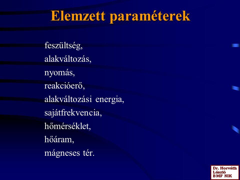 Elemzett paraméterek feszültség, alakváltozás, nyomás, reakcióerő,