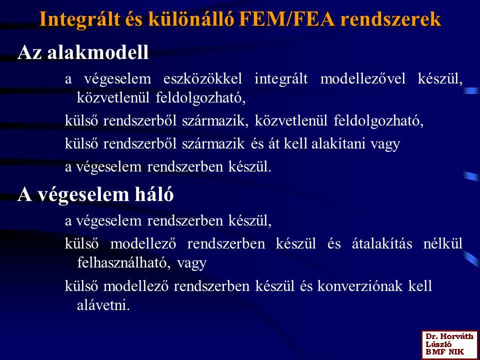 Integrált és különálló FEM/FEA rendszerek