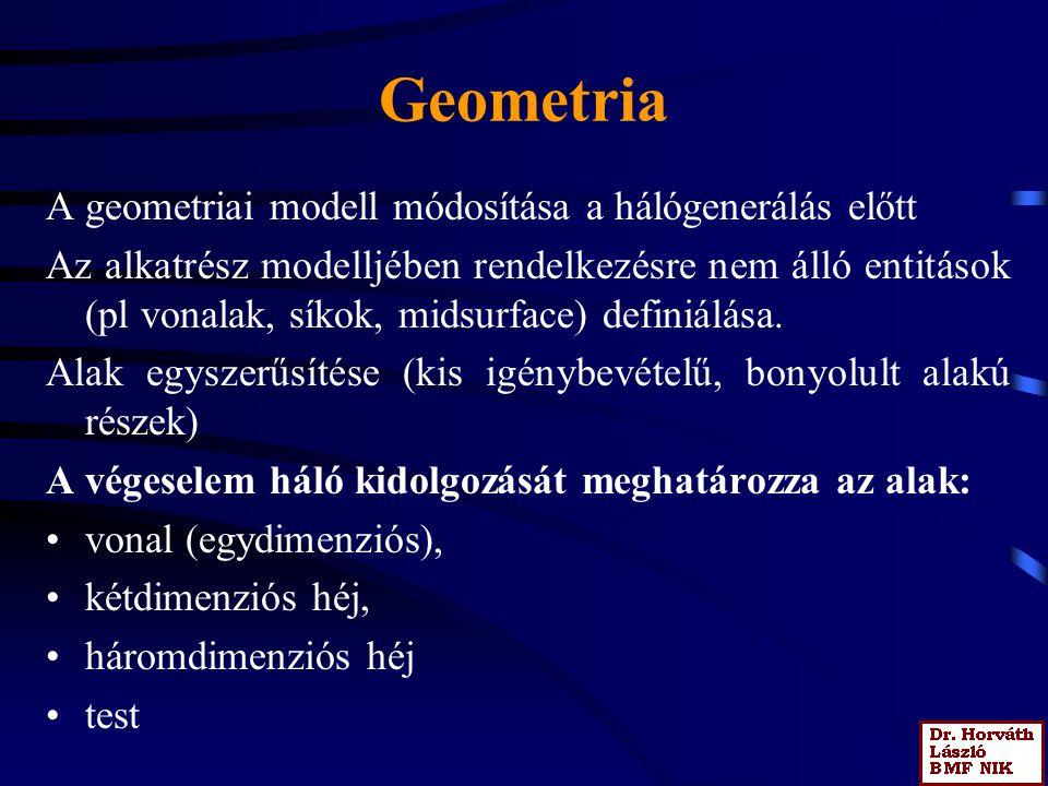Geometria A geometriai modell módosítása a hálógenerálás előtt