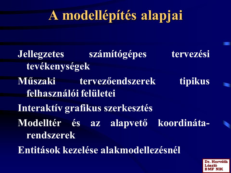 A modellépítés alapjai