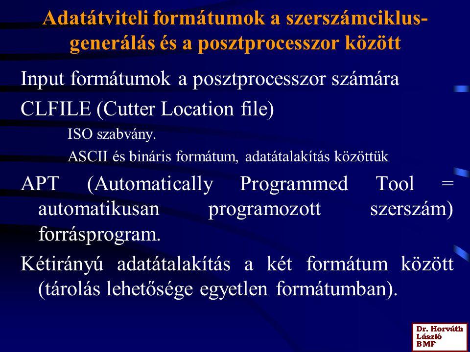 Input formátumok a posztprocesszor számára