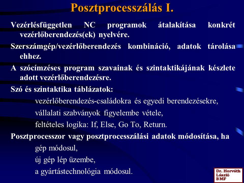 Posztprocesszálás I. Vezérlésfüggetlen NC programok átalakítása konkrét vezérlőberendezés(ek) nyelvére.