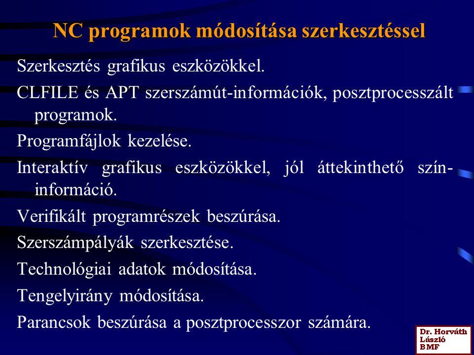 NC programok módosítása szerkesztéssel