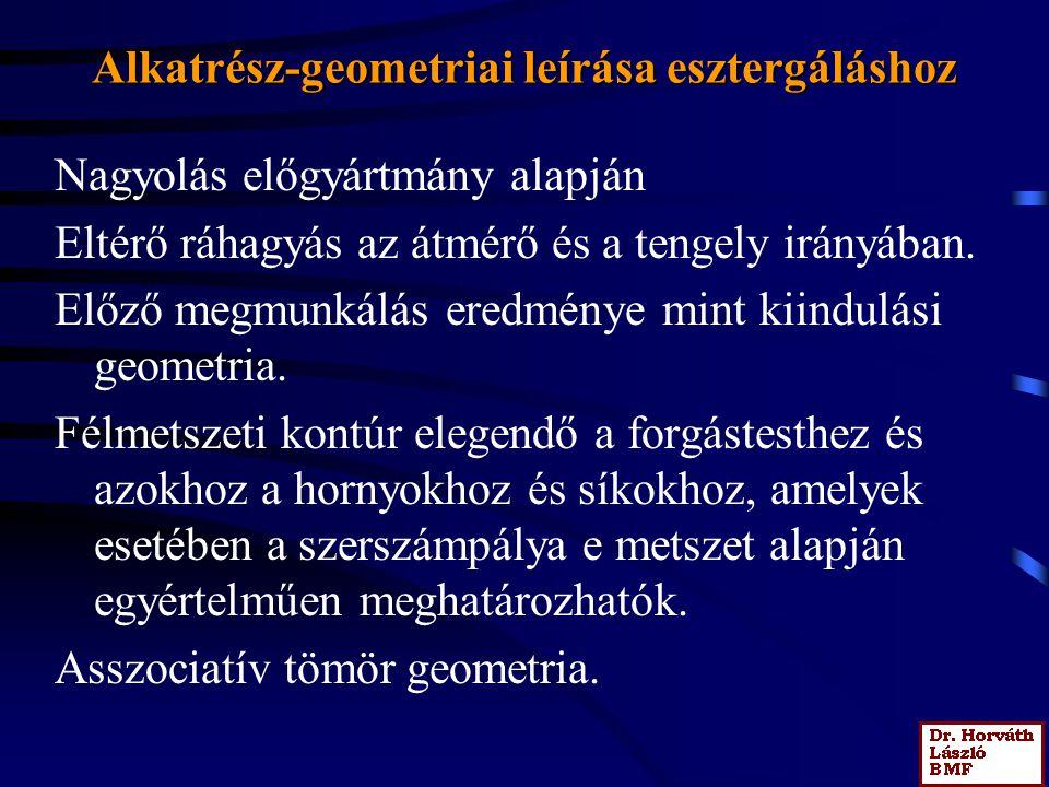 Alkatrész-geometriai leírása esztergáláshoz