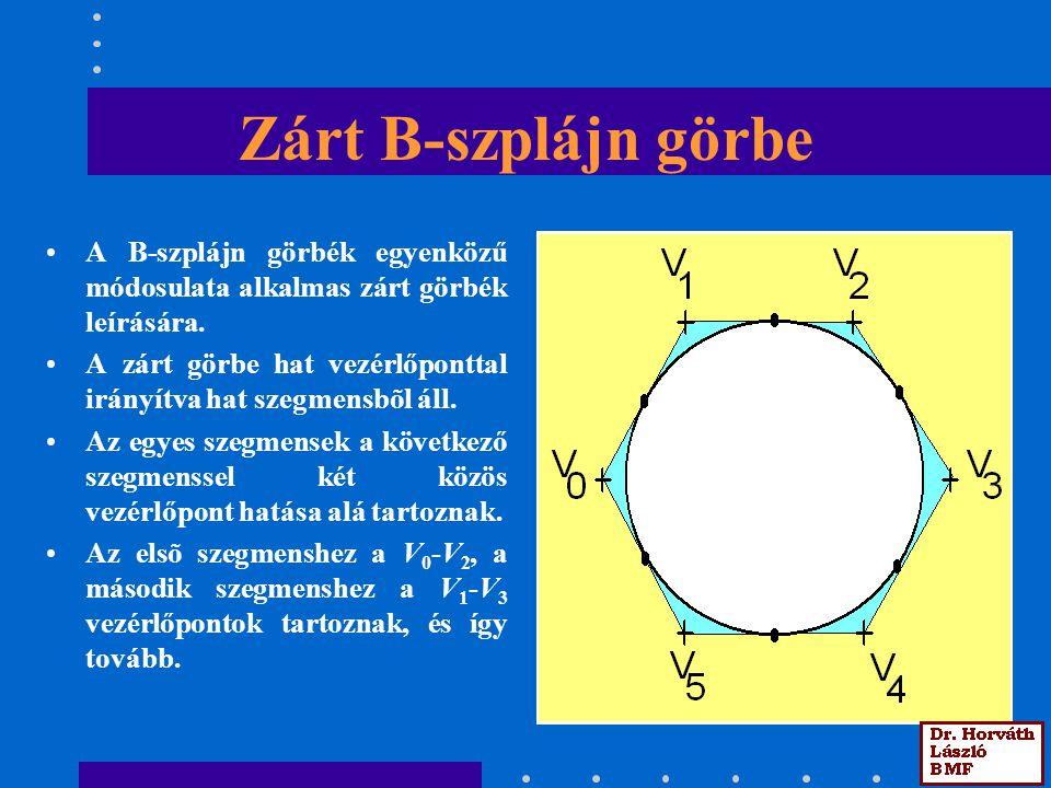 Zárt B-szplájn görbe A B-szplájn görbék egyenközű módosulata alkalmas zárt görbék leírására.