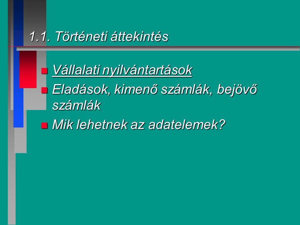 1.1. Történeti áttekintés Vállalati nyilvántartások.