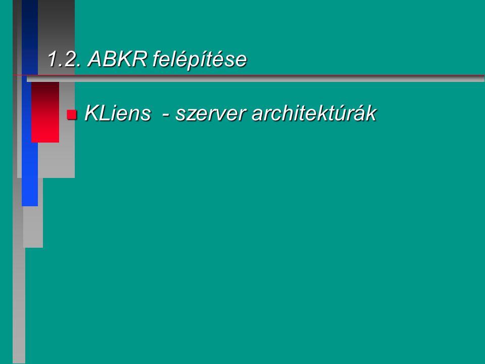 1.2. ABKR felépítése KLiens - szerver architektúrák