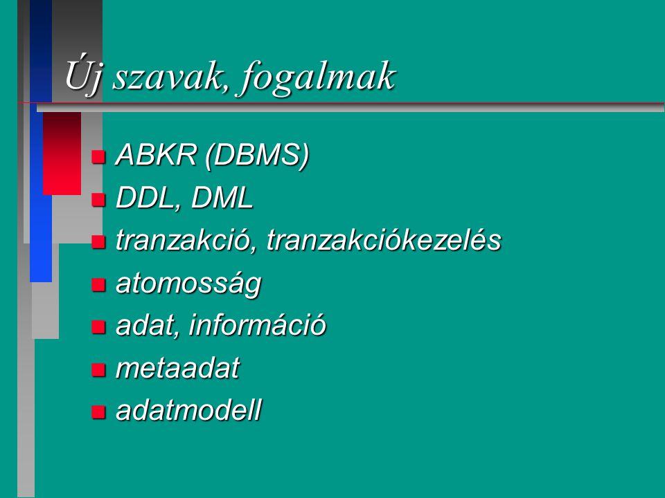 Új szavak, fogalmak ABKR (DBMS) DDL, DML tranzakció, tranzakciókezelés
