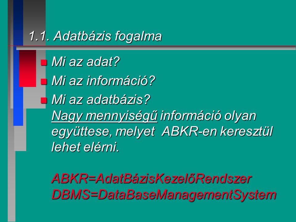 1.1. Adatbázis fogalma Mi az adat Mi az információ