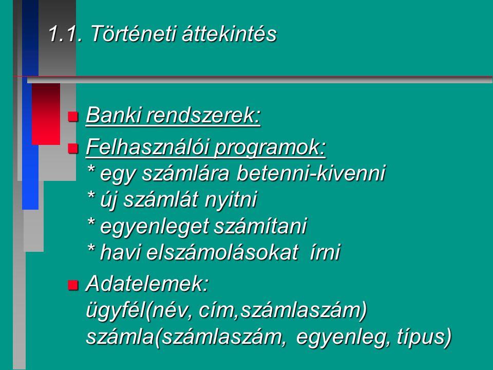 1.1. Történeti áttekintés Banki rendszerek: