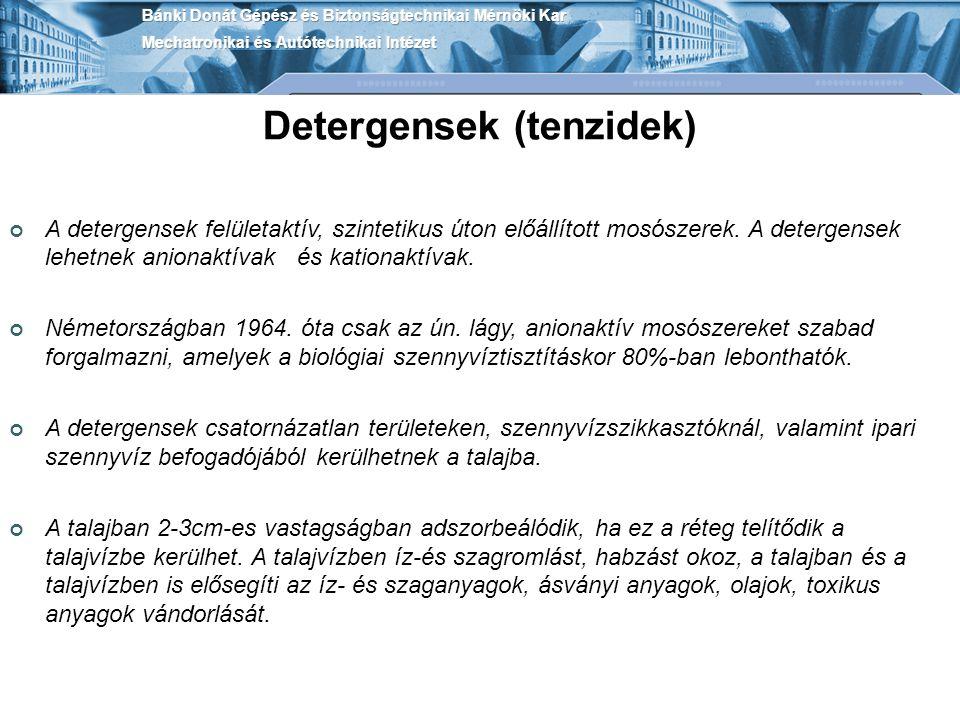 Detergensek (tenzidek)