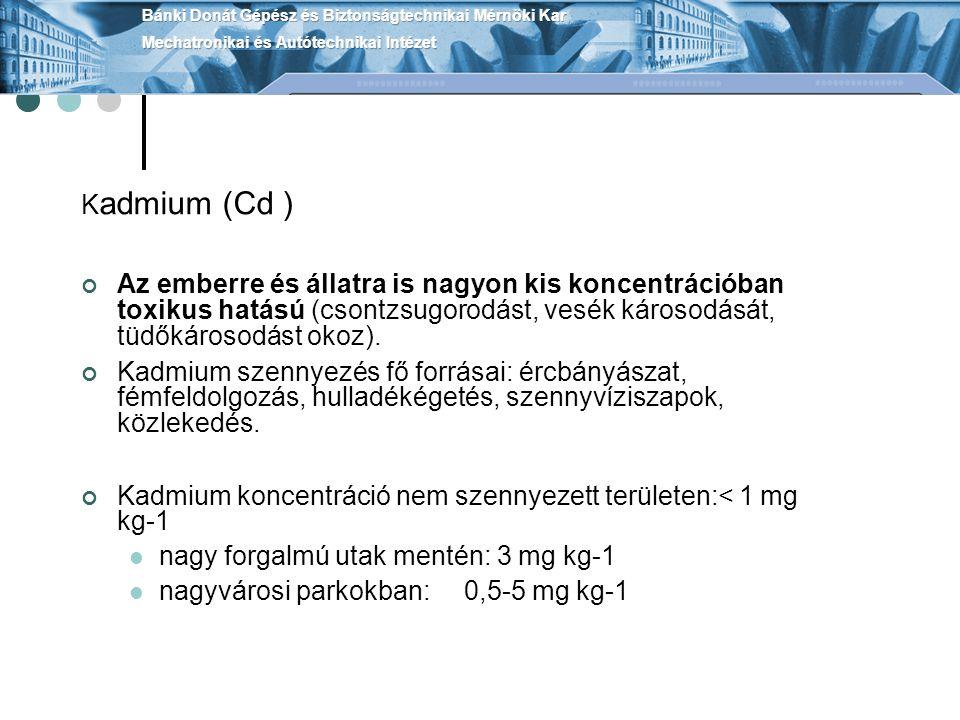 Kadmium koncentráció nem szennyezett területen:< 1 mg kg-1