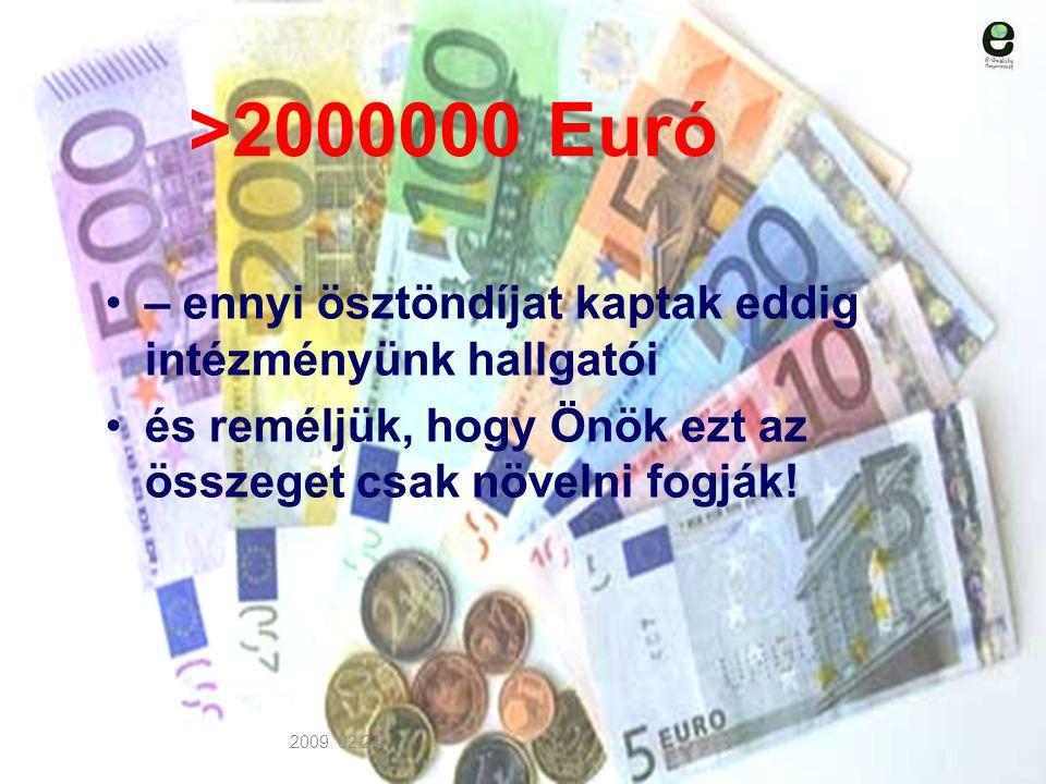 >2000000 Euró – ennyi ösztöndíjat kaptak eddig intézményünk hallgatói. és reméljük, hogy Önök ezt az összeget csak növelni fogják!